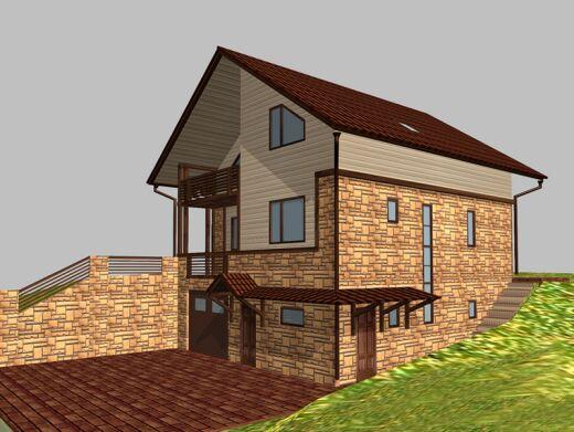 Проект двухэтажного дома Шале на склоне